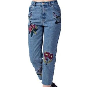Honey Punch High Rise Embroidered Mom Jeans